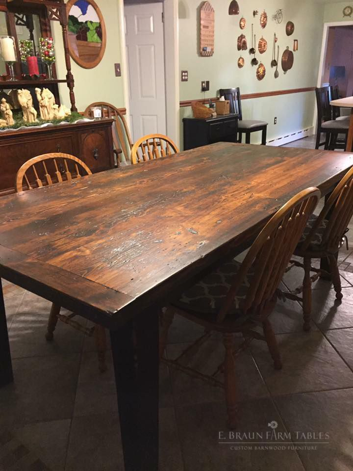 Reclaimed Barn Wood Yellow Pine Was Used To Craft This Gorgeous Farm Table