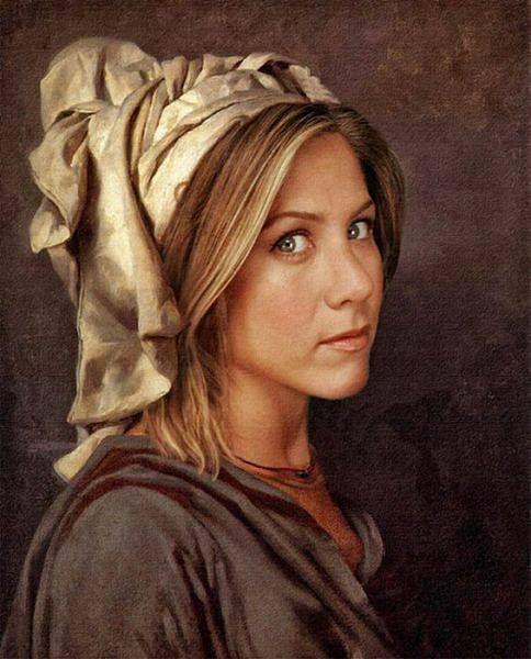 Jennifer Aliston: Modern Celebrity, Old Style, Jennifer Aniston, Art Paintings, Celebrity Dresses, Movie Stars, Classic Paintings, Celebrity Portraits, Jenniferaniston
