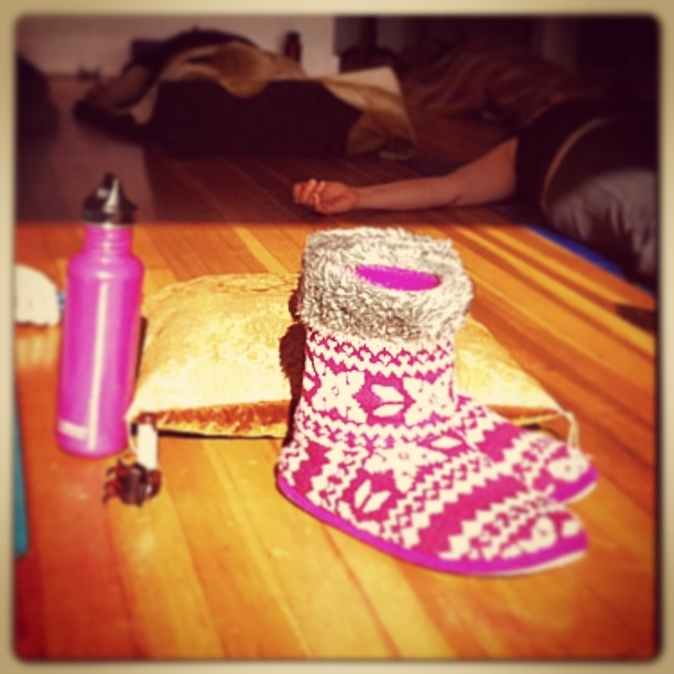 Water Bottle and Slippers...must haves at a Sanga Retreat