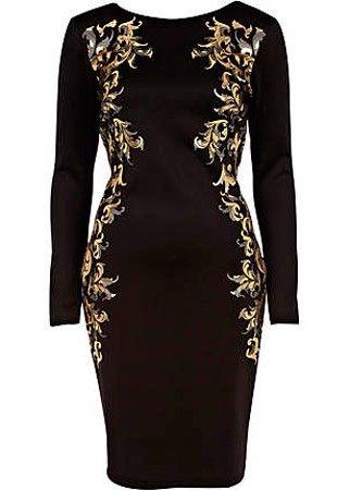 River Island baroque bodycon dress, £40