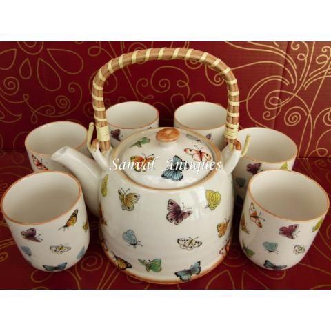 Juego De Té De Porcelana Shabby Vintage Tetera 6 Tazas Caja Sanvalantiques.mercadoshops.com