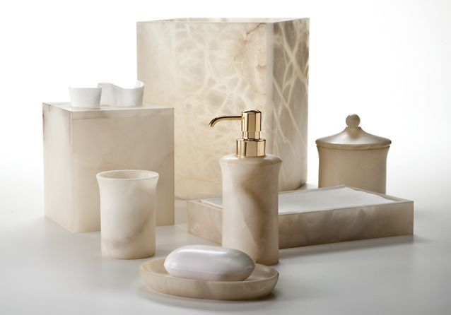 Luxury Bathroom Accessories Sets. The Alisa Cream Vanity Set By Labrazel Is Made Of Alabaster With A Creamy Ivory Coloring And Natural Pattern