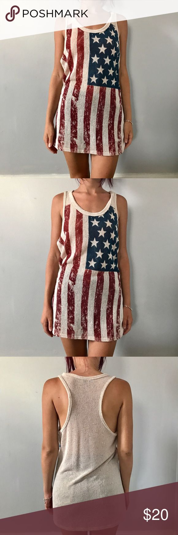 American flag dress/top American flag sweater material dress or could be worn as a top!! free kiss Tops