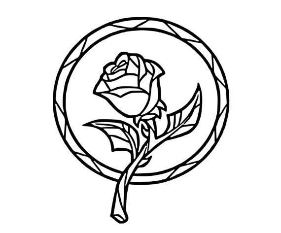 Stain Glass Rose Beauty and the Beast Window Vinyl Decal