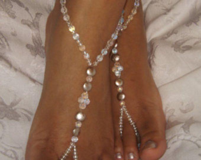 Destinazione di nozze Champagne Soleless scarpa spiaggia nozze gioielli piede Champagne cavigliera piede gioielli destinazione sposa e Cerimonia di nozze