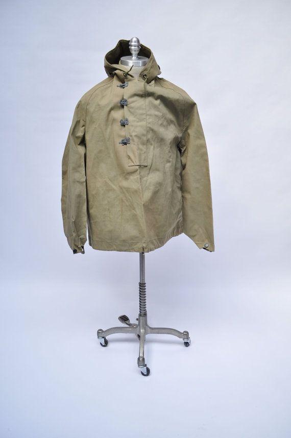 vintage ww2 jacket wet weather parka wwII coat dated 1945 medium army