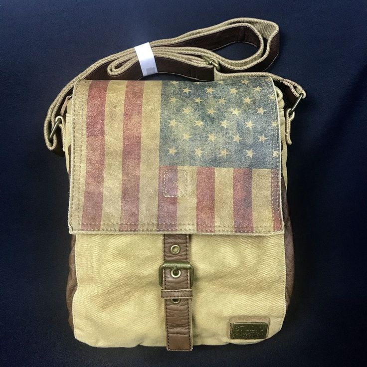 Studio Manhattan Art Design Canvas Leather Boho Crossbody Bag Purse USA Flag #Canvas #MessengerBag