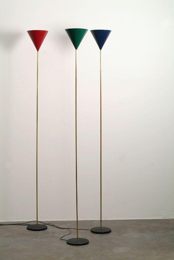 Luigi Caccia Dominioni and Ignazio Gardella. Painted Metal and Brass 'Lte 5 Imbuto' Floor Lamps by Azucena, 1954.