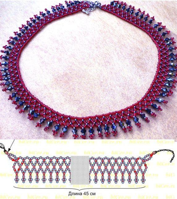 Схема плетения колье: