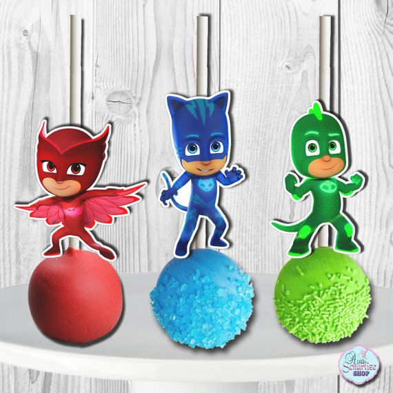 PJ Masks Cake Pop Toppers PJ Masks Cupcake by PRINTSbyYohan