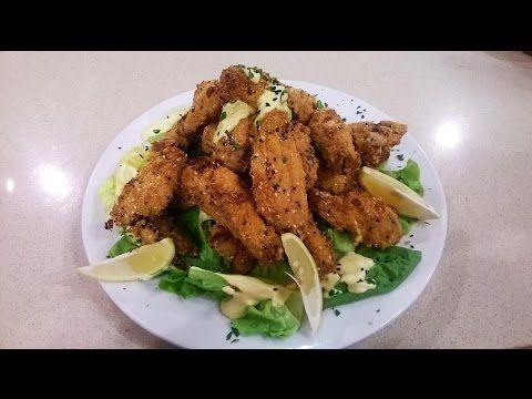 Alitas de pollo rebozadas en panko con ensalada verde - YouTube