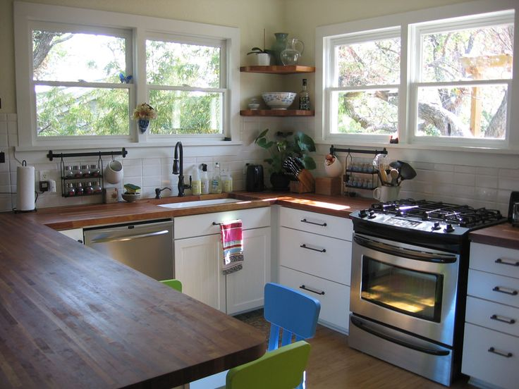 Bungalow small kitchen renovation wood counters orb for Small eat in kitchen