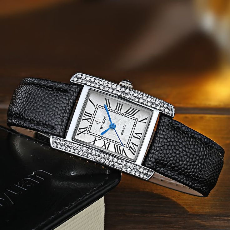 Cheap silver black WWOOR 2016 Fashion Brand Luxury Women Watches Diamond Rhinestone Genuine Leather Strap Quartz Ladies Casual Wristwatch 30M Water-Proof Watch + Storage Box Online Shopping | Tomtop