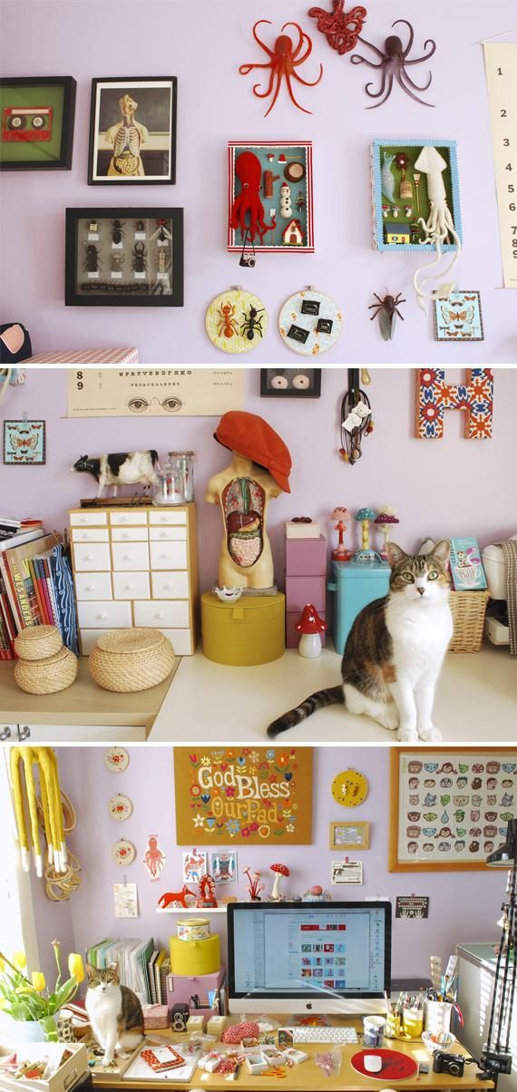 Peruse the many colorful curiosities found in designer and illustrator Hiné Mizushima's studio.