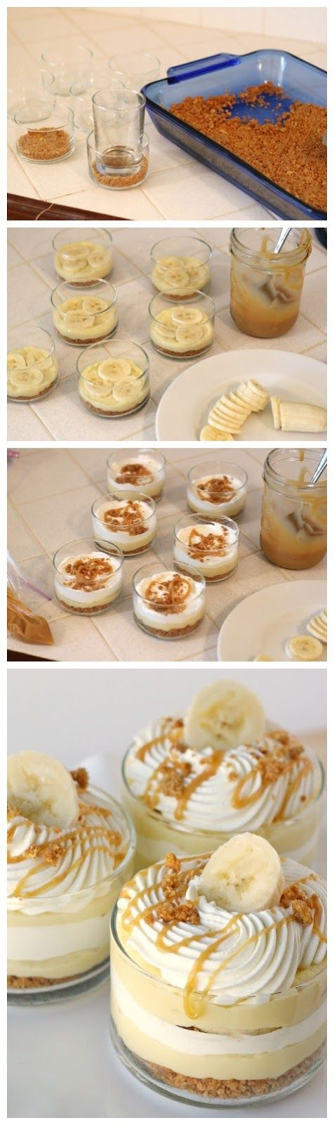 Recipe Best: Banana Caramel Cream Dessert Love the individual little glasses for these