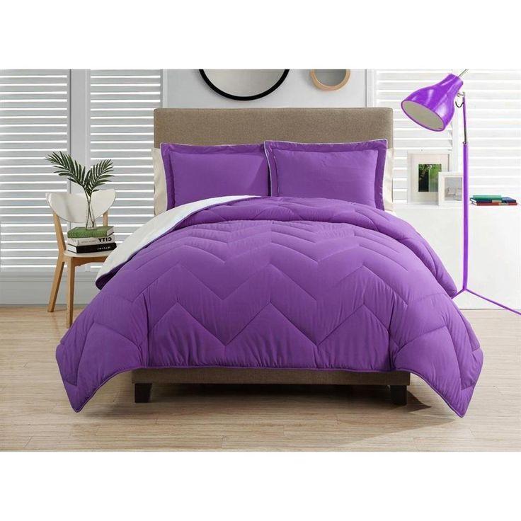 Full Queen Purple Chevron Comforter Set Fancy Luxury Bedding Polyester Solid Pattern Down Alternative Type All Season Medium Purple White