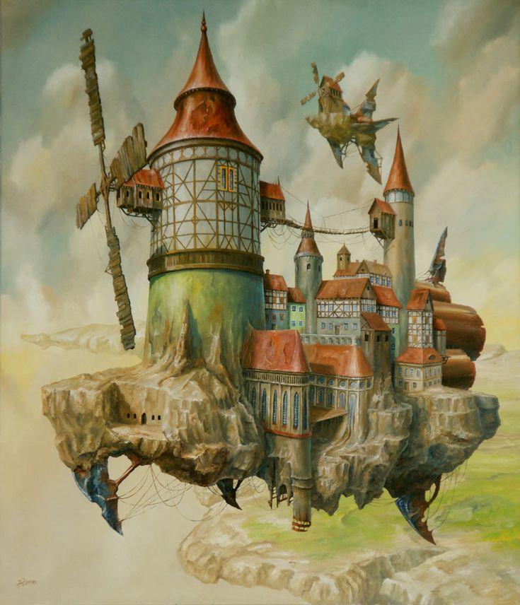 flying windmill island  steampunk fantasy inspiration