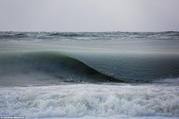 Solidified: The so-called 'slurpee waves' formed as temperatures dropped to 19 degrees in New England