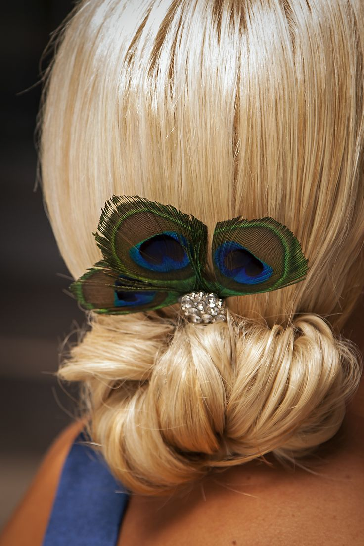 Bridesmaids Hair Detail: Chignon with Peacock and Bling Hair Pin