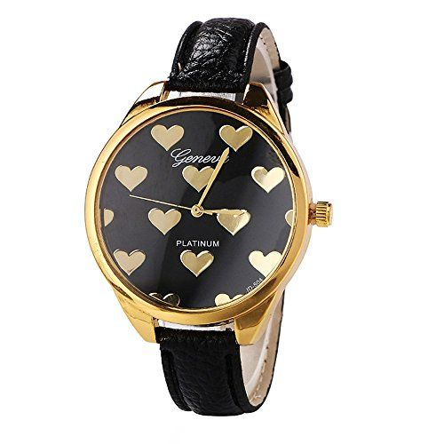 Women Big Face Watch Gold Color Stainless Steel Slim Love Black Watch Gift For Women
