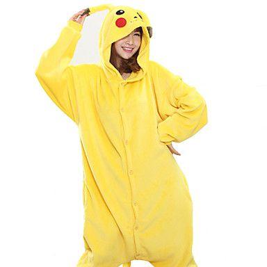 Kigurumi Pajamas New Cosplay® / Pika Pika Leotard/Onesie Festival/Holiday Animal Sleepwear Halloween Yellow Patchwork Coral fleece