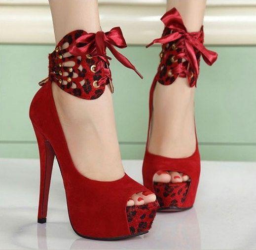 Sexy Custom made Leopard Heels  #red #high #heels #shose #women #fashion