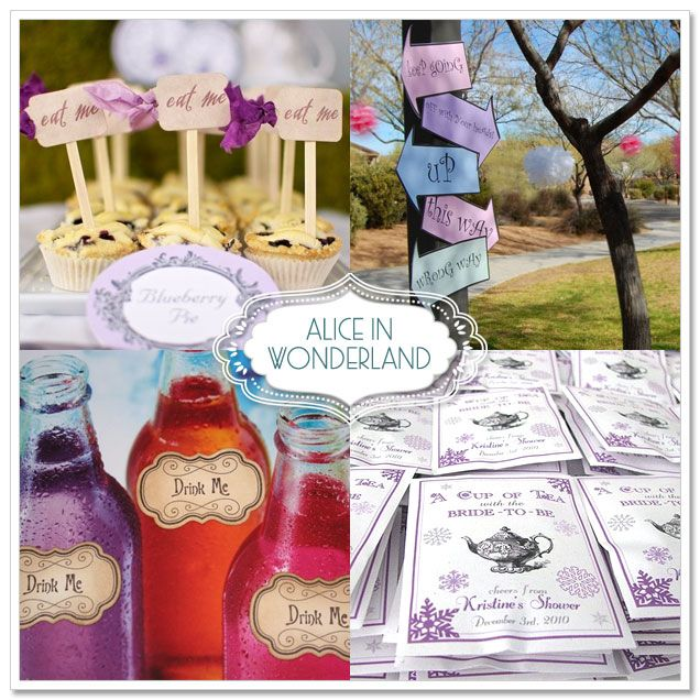 alice inspiration ~ thanks to the miracle of computer graphics, you can now DIY all of the paper products you might need. make signs, labels, favors, etc…