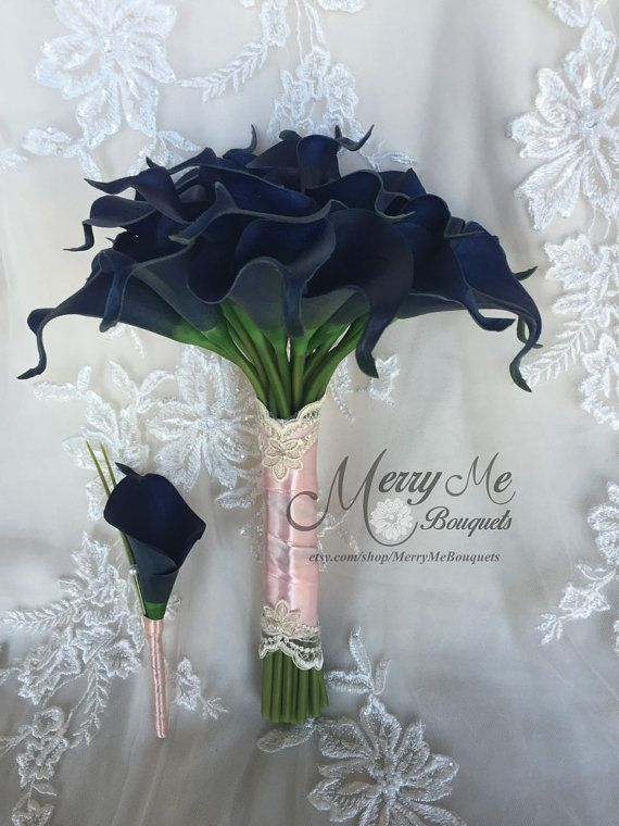 Rose gold  Navy Bouquet Navy and Pink Bouquet Navy and by MerryMeBouquets