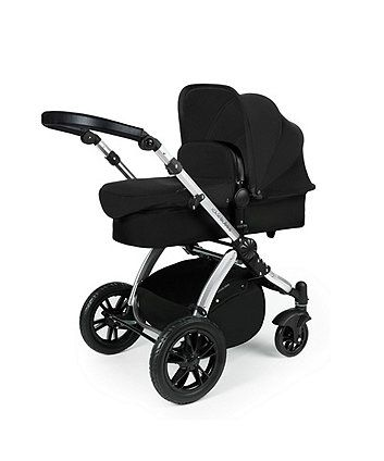 Ickle Bubba Stomp v3 All in One with Isofix Base Travel System - Black on BLACK Frame | prams & pushchairs | Mothercare