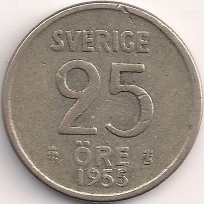 Wertseite: Münze-Europa-Nordeuropa-Schweden-Krona-0.25-1952-1961