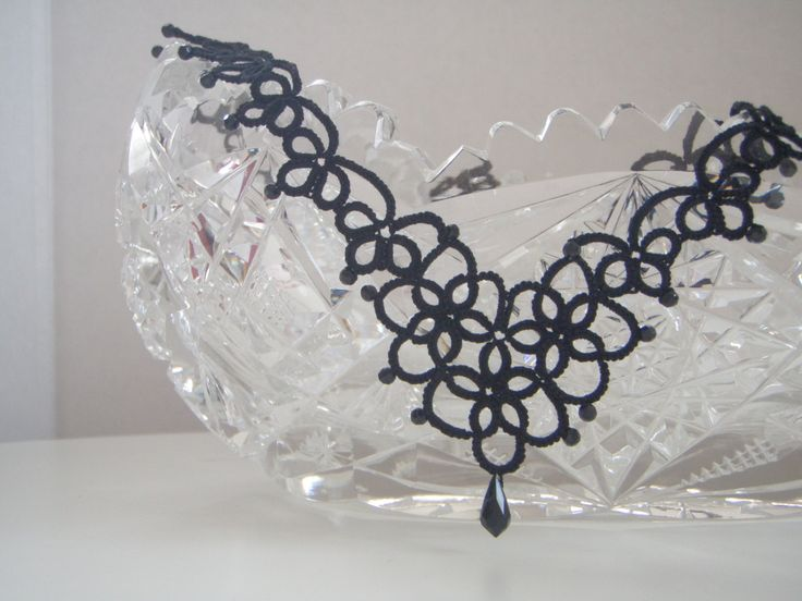 Victorian  style tatted necklace by tattingblackkitty on Etsy