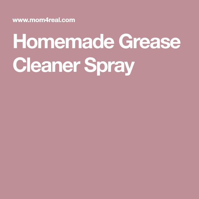 Homemade Grease Cleaner Spray