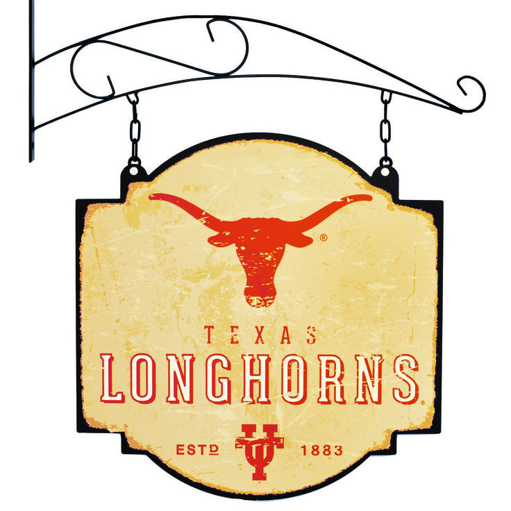 """This 16"""" x 16"""" metal sign is printed on both sides with Texas logos and has been made to look like an old fashioned tavern sign. It comes with a bracket that allows the sign to be hung, or you can ignore the bracket and affix the sign directly to a wall."""