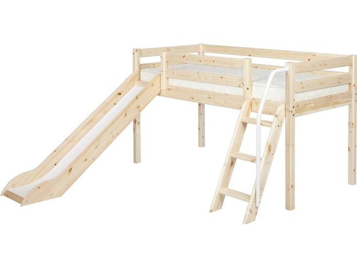 Hochbett, Flexa Classic, Spielbett mit Rutsche, Natur lackiert, inkl. Lattenrost und Leiter mit Handlauf erweiterbar und umbaubar Jetzt bestellen unter: https://moebel.ladendirekt.de/kinderzimmer/betten/kinderbetten/?uid=c1a610ad-7679-575a-b7b8-10030a1fcccf&utm_source=pinterest&utm_medium=pin&utm_campaign=boards #kinderzimmer #classic #flexa #kinderbetten #halbhohes #betten #rutschbett #bett #spielbett
