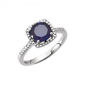 5. Sterling silver Created Blue Sapphire Ring