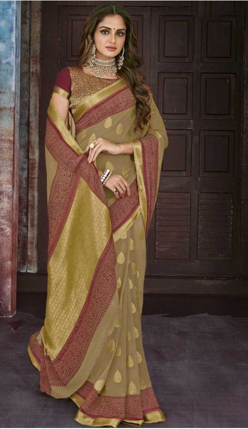 ee250be0d8 Gold Color Chiffon Jaquard Party Wear Saree | 374244700 #saris #sarees # fashion #