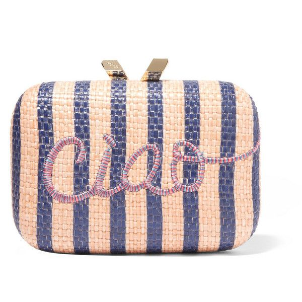 Kotur Ciao Morley embroidered raffia box clutch (7.956.070 IDR) ❤ liked on Polyvore featuring bags, handbags, clutches, pink, embroidered purse, polka dot handbag, stripe handbag, raffia purse and pink clutches