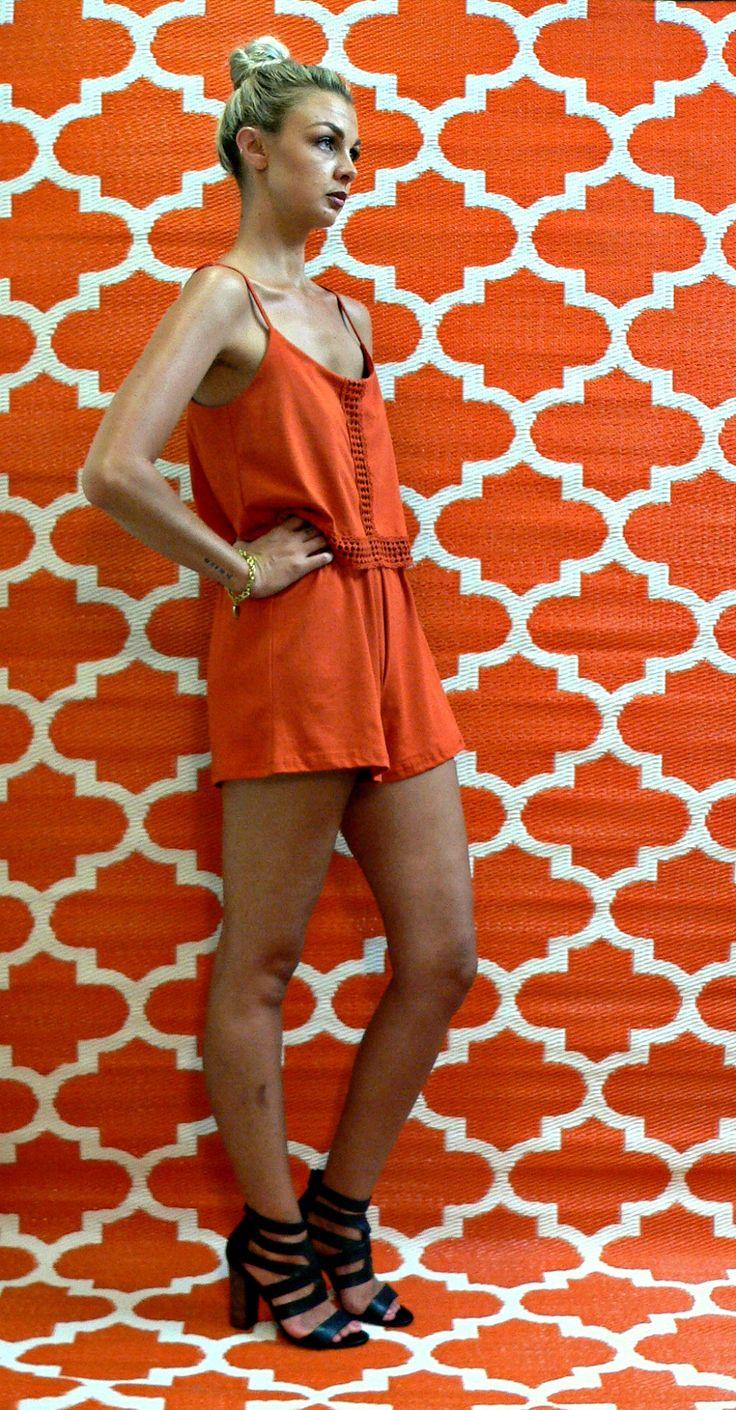 www.courtandspark.com.au summer style, romper, playsuit, rust, orange