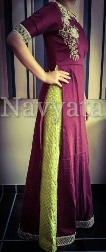 Double layered floor length gown and hand embroidered kurta