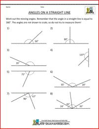 5th grade geometry angles on a straight line