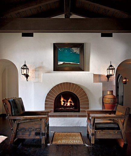 Razmataz diane keaton 39 s beverly hills spanish colonial for Spanish style fireplace