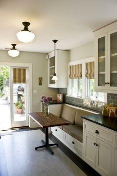 galley kitchen with breakfast nook - Google Search