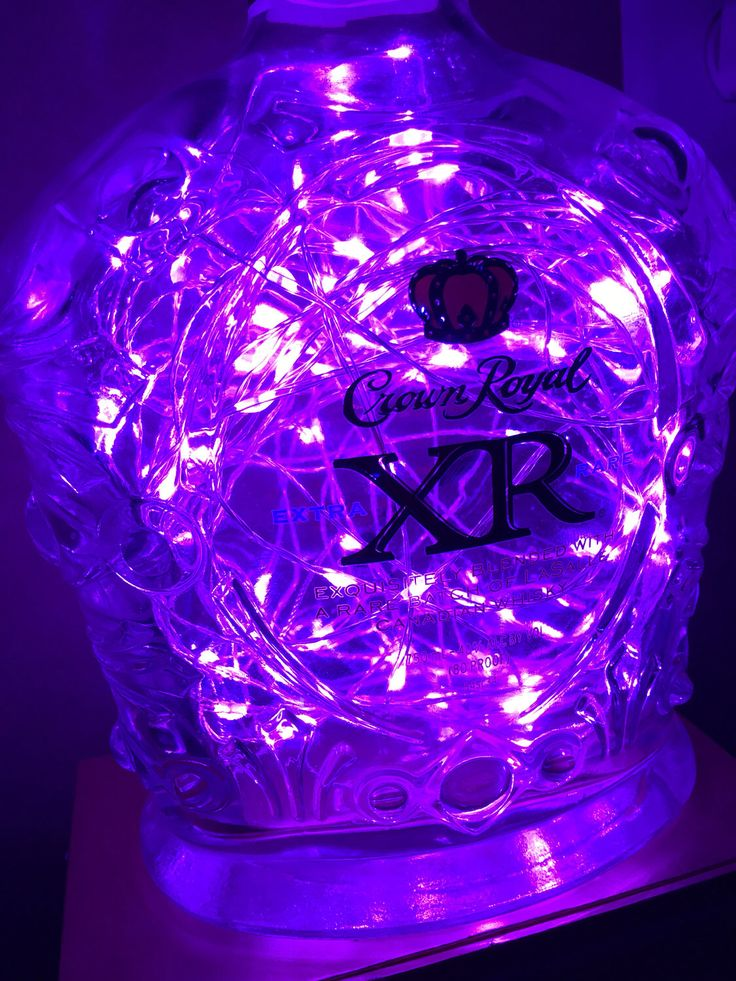 Upcycled Crown Royal XR Bottle Light W/Plug-In HaMi 100 Copper Wire LEDs Purple Fairy Starry Lights by GrottoBottleCo on Etsy https://www.etsy.com/listing/508481662/upcycled-crown-royal-xr-bottle-light