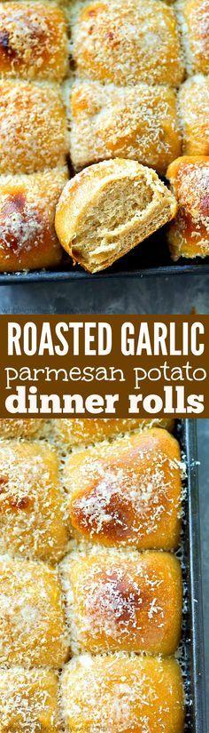 Roasted Garlic Parmesan Potato Dinner Rolls | Recipe | Most popular ...