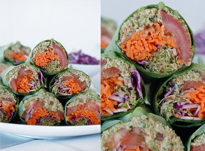 Chow down and get your vitamins with this Raw Vegan Falafel Burger Wrap.