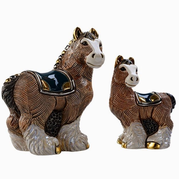Clydesdale Horse and Baby Ceramic Figurine | F147 | De Rosa Collection