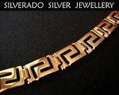Sterling Silver 925 Goldplated 22K Ancient Greek Eternity Key Meander 20 cm
