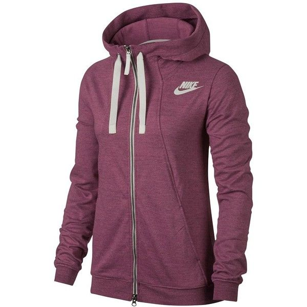 Nike Sportswear Hoodie ($60) ❤ liked on Polyvore featuring tops, hoodies, port heather, nike top, purple hoodies, hooded sweatshirt, hooded pullover and hooded zip sweatshirt