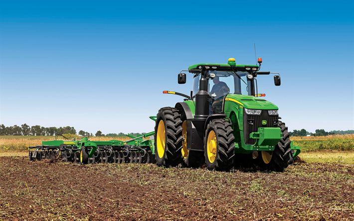 Télécharger fonds d'écran John Deere 8295R, de tracteurs, de machines agricoles, champ, John Deere
