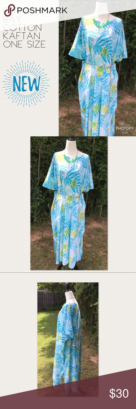 Peppermint Bay Cotton Kaftan - One Size Fits Most Peppermint Bay Cotton Kaftan - One Size Fits Most  Great as a swim cover up for poolside, the beach or wear when lounging around the house   Fabric:  100% Cotton  Colors: Tropical turquoise, aqua and lime
